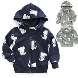 Boys Dinosaur Jacket Australia - USA Baby Boys Dinosaur Jacket Zipper Hooded Coat Autumn Hoodies Sweatshirt 0-3T