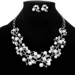 Yellow Flower Jewelry NZ - HOMOD Imitation Pearl Rhinestone Flowers Leaves Metal Yellow White Color Statement Necklace Women Jewelry
