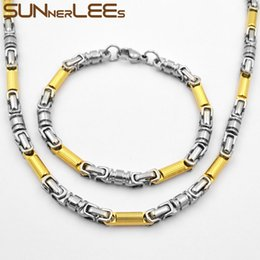 silver chain for men 6mm 2019 - SUNNERLEES Fashion Jewelry Stainless Steel Necklace Bracelet Set 6mm Geometric Link Chain Silver Gold Color For Men Wome