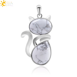 Chinese  CSJA Kitty Cat Kitten Charms Necklace Pendants for Girl Gift Chakras Natural Gemstone Beads Real Amethyst Rose Quartz Tiger Eye Animal F072 manufacturers