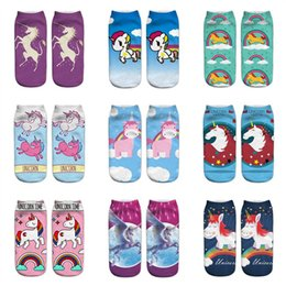 d30ad1633882 New cute kids Children Teenager girls 3D Printed Unicorn Socks cartoon  fashion novelty Ankle Sock Low Cut Funny socks wholesale
