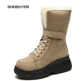 Lady Snow Boots Mid Calf Australia - Winter Warm Women Mid-calf Boots Lace Up Round Toe Creeper Boots Woman Wedges Sneaker Snow Boots Suede Leather Ladies Shoes
