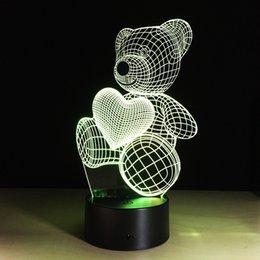 Dessin animé mignon coeur forme forme acrylique lampe LED lumière de nuit 3D éclairage de nuit # R42
