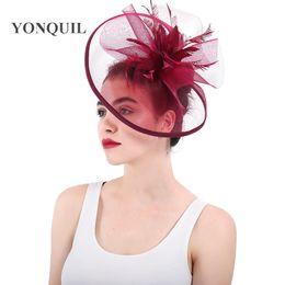 Kentucky Derby Hats Fascinators Australia - Multi-colors top quality feather  fascinators hat marron crinoline cd02e9eff983