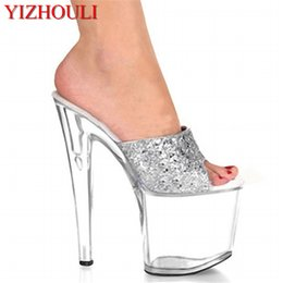 8 Inch Summer Clear High Heel Shoes For Women Sexy Crystal Shoes 20cm  Silver Glitter Slippers Dancer Stripper Platforms db8f037e5239