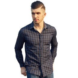 Mens Casual Denim Plaid Shirts Langarm Umlegekragen Tops Frühling Herbst Thin 100% Baumwollhemd