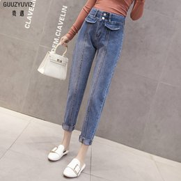 Jeans Guuzyuviz Autumn Winter Plus Size Jeans Woman Vintage Casual Print Hole Ripped Washed Cotton Denim High Wasit Pants Mujer Great Varieties Women's Clothing