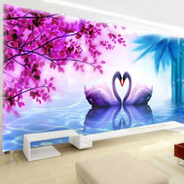China Pole Australia - 5D Diamonds Picture Swan Of Love Masonry The Show Is Full Of Drills Cross Embroidery A Living Room Bedroom Marry Celebrate New Pattern