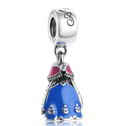 98fc13431 Pandora dress online shopping - Authentic Sterling Silver Cartoon Dress  Dangle Charms With Blue Red Enamel