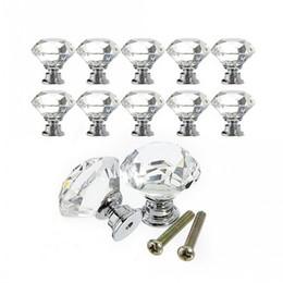 Crystal Pull Cabinet Handles Australia - 30mm Diamond Shape Crystal Glass Drawer Cabinet Knobs and Pull Handles Kitchen Door Handles Wardrobe Hardware