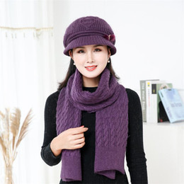 5858c9f1 Winter Hat and Scarf Sets for Women Wool Knitted Low Profile Hat and Long Knitted  Scarf Gift for Wife Mom Cowoker AA10071