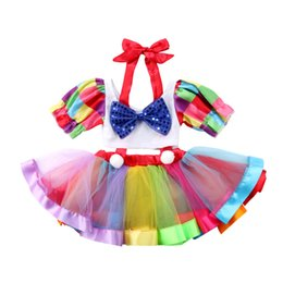 $enCountryForm.capitalKeyWord NZ - Lovely Kids Baby Girl Short Tops Rainbow Suspender Skirt Overalls 2PCS Outfits Colorful Striped Children Girls Tutu Skirt Sets