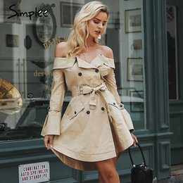 Sexy Women Winter Outwear NZ - Simplee Sexy off shoulder trench coat women Elegant khaki outerwear coats Double breasted sash casual outwear autumn winter 2018