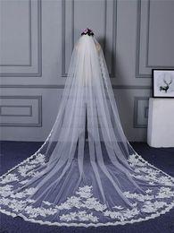 Beaded Veils White Australia - One Layer Cheap White Ivory Tulle Long Wedding Bridal Veils For part Wedding 3 Metres Bride Wedding Veils
