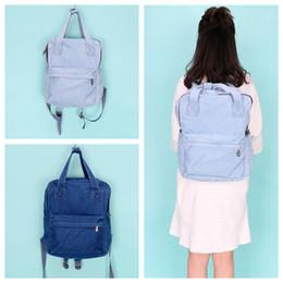 4f7d7d3573 2 Colors Simple Style Plain Denim Backpack Washable School Bag Fresh Universal  Boys Girls Outdoor Bags NNA424