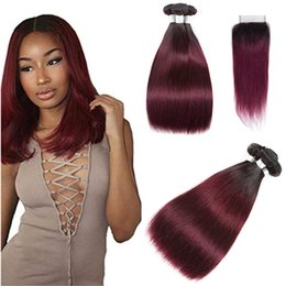 Discount burgundy ombre color weave - T 1B 99 Dark Root Burgundy Straight Ombre Human Hair Weave 3 Bundles with Lace Closure Brazilian Virgin Hair Extensions