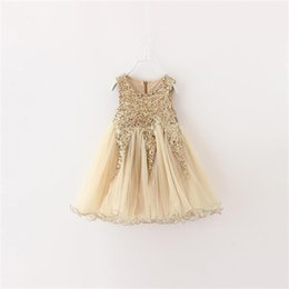 special gowns UK - Toddler Girl Dress 2017 Brand Girls Kids Prom Party Dresses Gold Sequins Kids Clothing Dresses For Girls Special Occasion Wear