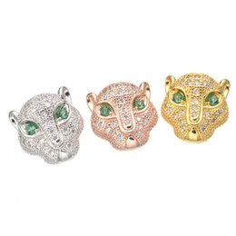 Crystal Cross Connector Jewelry Australia - Wholesale Handmade DIY Jewelry Accessories Rhinestone Crystal Eyes Leopard Head Loose Beads Bracelet Connectors Spacer Charms Components Fit