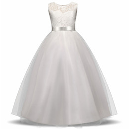white dresses for girls casual Australia - Girls Wedding Party Flower Girl Dress Bridesmaid Clothes for Wedding Princess Gowns Teen Girl White Tulle Evening Dresses