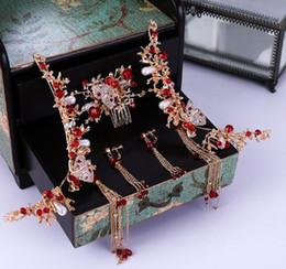 $enCountryForm.capitalKeyWord Australia - New Phoenix crown Chinese bride Qipao Xiu Wo dress red accessories ancient costume wedding accessories