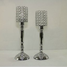 Silver Candle Holders Wholesale NZ - 20pcs lot 45cm 40cm tall silver color crystal beaded candle holder candlestick candelabra table centerpieces wedding party decoration