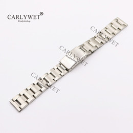 Wholesale CARLYWET mm L Stainless Steel Silver Brushed Watch Band Strap Old Style Oyster Bracelet Straight End Screw Links