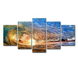 Chinese  Modern Canvas Paintings Home Wall Art Ocean Pictures Framework 5 Pieces Sunset Sea Waves Seascape Posters Living Room Home Decor manufacturers