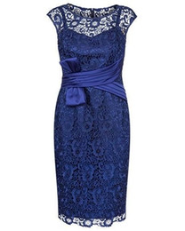 $enCountryForm.capitalKeyWord UK - Roayl Blue Lace Sheath Knee Length Mother of the Bride Dresses with Sash for Wedding Party Mother of the groom Dresses