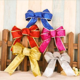 Wholesale Glitter Products Australia - Glitter ribbon bow Christmas tree decor ornaments hanging accessory Christmas gifts kids toy DHC0039 Christmas festival products
