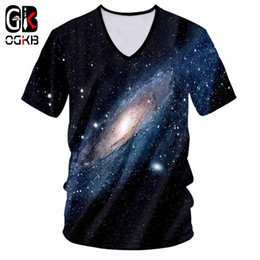 V Neck Style T Shirts Canada - OGKB Men T-shirt Fashion 2018 With V Neck 3d Print Starry Night Tshirt Harajuku Hiphop Streetwear Punk Style Short Sleeve Tees