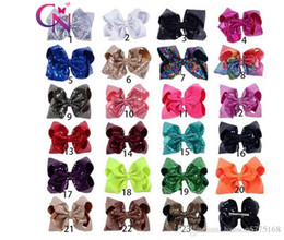 $enCountryForm.capitalKeyWord NZ - Free Shipping DHL Sequin Large Hair Bow With Clip For Girls High Quality Bright Color Hairbows Kids Bcak School Hair Accessories
