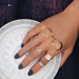 Gold Pink Rings For Women Australia - whole saleBoho Vintage 5Pcs Set Gold Color Midi Finger Ring Sets Fashion Crystal Leaf Pink Stone Knuckle Rings for Women