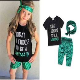 Zebra hairs online shopping - ins quot mermaid hair donot care quot quot today i choose to be a mermaid quot girls mermaid pc set tshirt girls scale pp pants bow headband B11