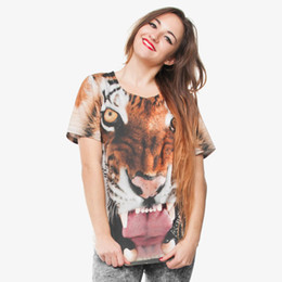 ladies graphic t shirts UK - Women T-shirt Tiger 3D Full Print Girl Free Size Stretchy Casual Tops Lady Short Sleeves Digital Graphic Tee Shirt Blouse (GL29831)