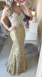 Wholesale Real Picture High Quality Gold Lace Mermaid Evening Dresses Long For Women Prom Dress vestido de festa