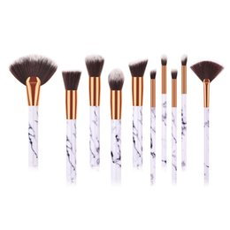 Style Facial Hair Australia - 10pcs set Makeup Brushes Set Marbel Style FAN Brush High Quality Plastic Handle Synthetic Hair Microbrush Facial Use Brushes Set DHL T10143