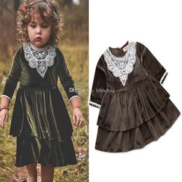 european ball gowns 2019 - Baby Gold velvet dress INS girls lace cupcake Princess dresses 2018 new fashion Kids Clothing Boutique girls Ball Gown 2