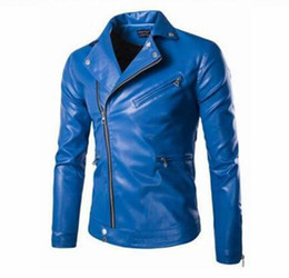 British Hair Styles Australia - Men's fall European American and Korean style slim British short style boutique blue hair stylist motorcycle leather coat  M-5XL