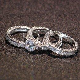 Uphot 2019 heißer Verkauf Engagement Topaz simuliert Diamant Diamonique 14KT Weißgold gefüllt 3 Hochzeit Frauen Ring Sets Geschenk Größe 5-11 im Angebot