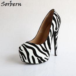 57402c2701 wholesale Zebra Super High Heels Closed Toe Women Pump Spring Shoes  Platform Women Footwear Party Heels Big Size Runway Heels