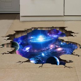 Wholesale 3D Blue Universe Galaxy Planet Wall Decals For Kid Room Floor  Sticker Bedroom Living Room Decorative Stickers PVC Wall Stickers