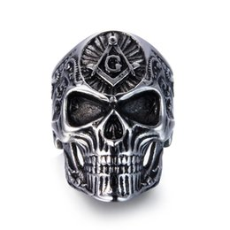 Chinese  2018 New Hiphop Style Stainless Steel Men Ring Masonic Skull Titanium Rings for men Vintage Punk Fashion Jewelry Gift BR8-539 manufacturers