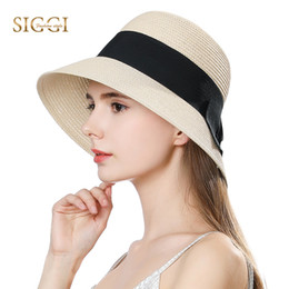 SIGGI Summer Straw Sun Hats For Women Solid with Bow Adjustable Wide Brim  Sweatband Summer Breathable Female 69087 be3b3ab6bc4e