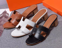 Brown Summer Sandals Canada - High quality 2018 new fashion women slippers,summer slipper sandals with 4.5cm heels genuine leather,black white brown colors ,free shipping