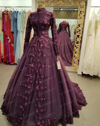 MusliM bridal evening gowns online shopping - Purple Lace Appliques Long Sleeves Evening Dresses Muslim Prom Dress High Neck Formal Party Gowns Saudi Arabia Bridal Dress Plus Size