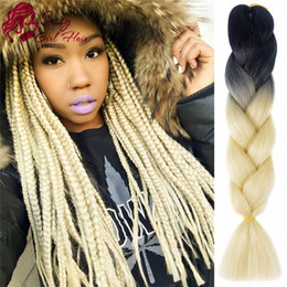 "synthetic kanekalon hair braids NZ - 5Pcs Lot Ombre Braiding Hair Extensions 24"" High Temperature Kanekalon Fiber Braiding Hair Synthetic Jumbo Braid Hair Croche (Black-Blonde)"