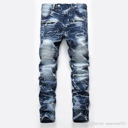 Jeans pour hommes Jeans pour homme Distressed Motard jeans taille de bikini 28 42 Rock revival Skinny Slim Ripped trou Straight Men's Denim pants