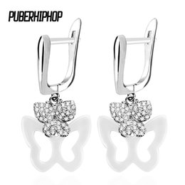 $enCountryForm.capitalKeyWord UK - Hanging Butterfly Earrings Set With Bling Crystal Black White Ceramic Fashion Temperament Korean Earrings Fashion Jewelry