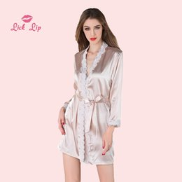 $enCountryForm.capitalKeyWord NZ - Lick Lip Pink Lace Bathrobe Women Satin V-Neck Ladies Kimono Robe Sexy Nightwear Mini Korean Transparente Sleepwear SWC3004-47
