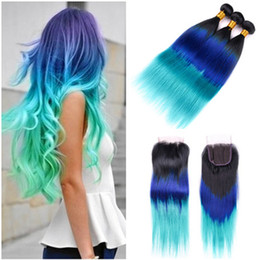 blue human hair weave Australia - #1B Blue Green Ombre Brazilian Virgin Hair Weaves with Closure Straight Three Tone Ombre Human Hair 3 Bundles with 4x4 Lace Top Closure